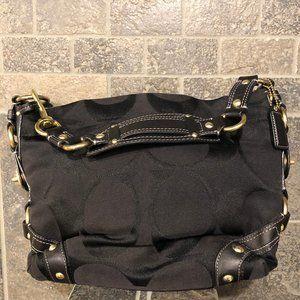 Vintage COACH Black Fabric Leather Brass Hobo Bag